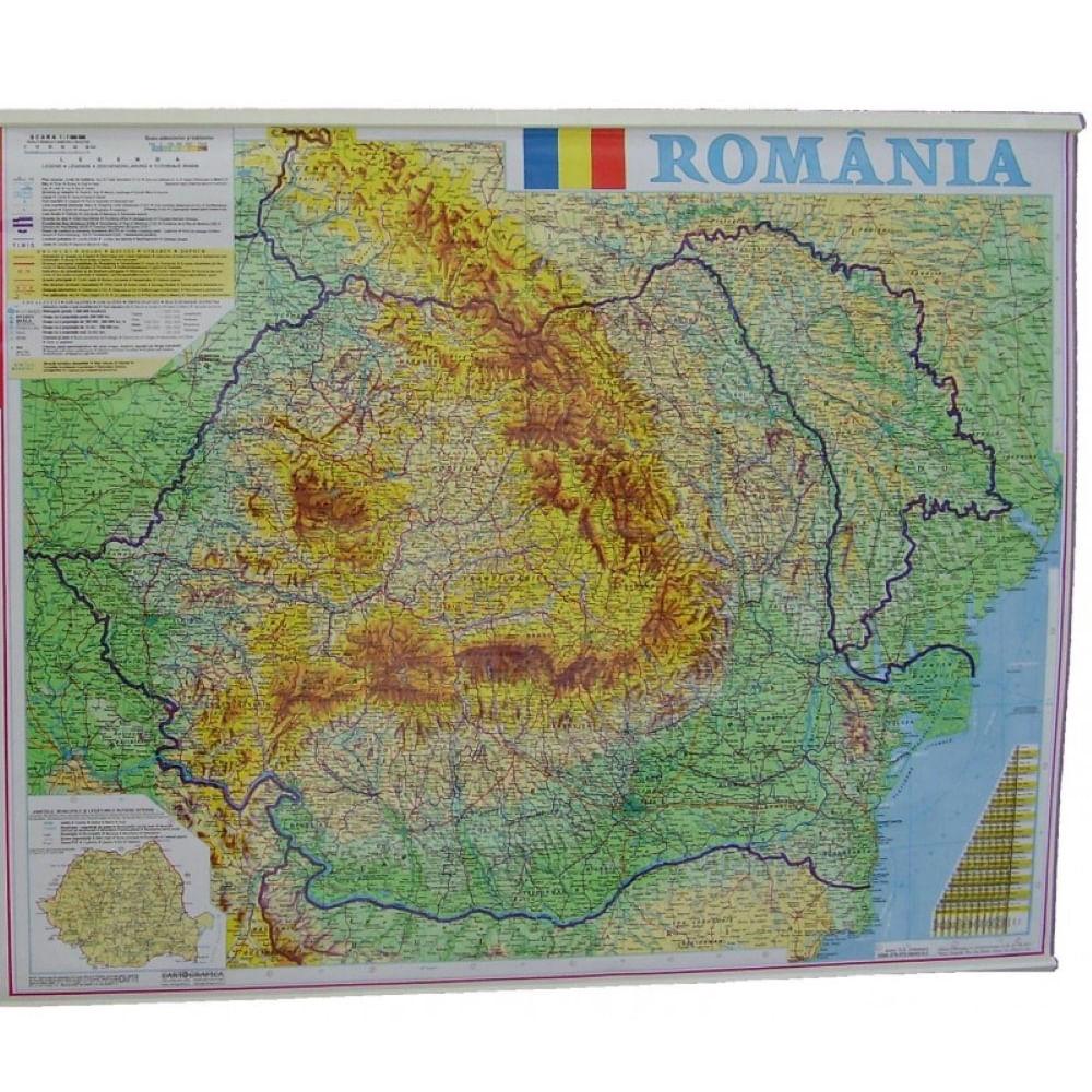 Harta Romania Fizico Geografica Si Administrativa 70 X 90 Cm Dacris