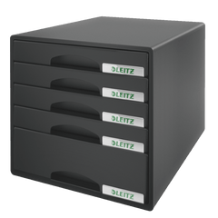 Suport-documente-Leitz-Plus-cu-5-sertare-negru