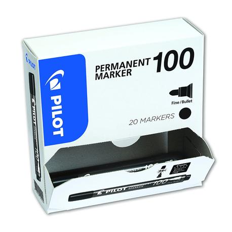 Marker-permanent-Pilot-100-varf-rotund-negru-20-bucati-set