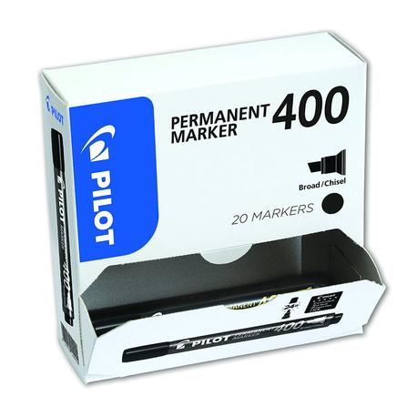 Marker-permanent-Pilot-400-varf-tesit-negru-20-bucati-set