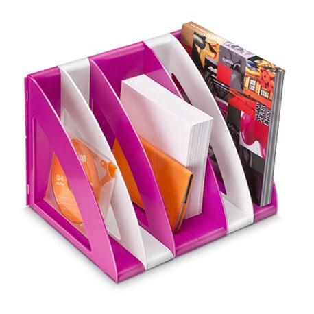 Suport-vertical-CEP-Gloss-modular-cu-5-compartimente-alb-roz