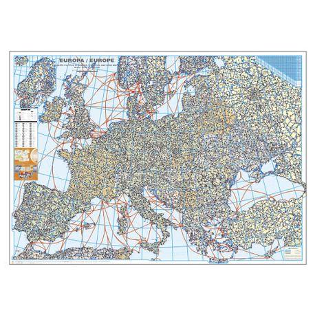 Harta Europei Politica Si Rutiera 100 X 140 Cm Scara 1 3 5 Mil
