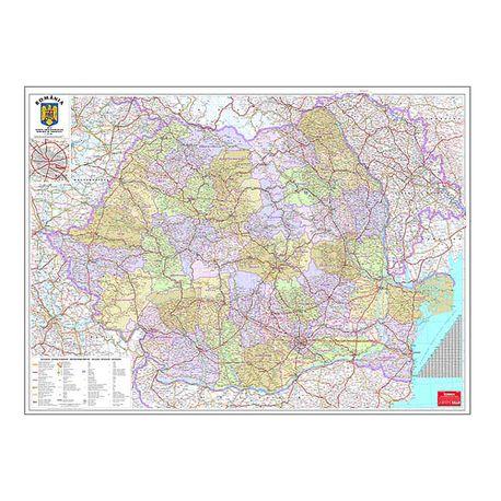 Harta Romania Administrativa 100 X 140 Cm Scara 1 570000 Dacris