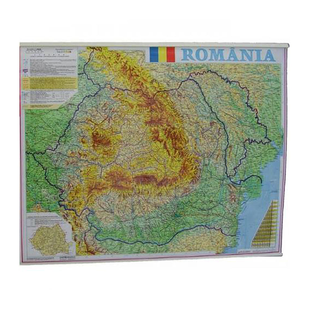 Harta Romania Fizico Geografica Si Administrativac 100 X 140 Cm