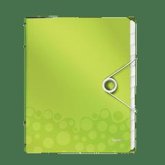 Mapa-plastic-Leitz-WOW-cu-12-separatoare-verde-metalizat
