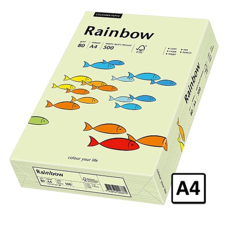 Hartie A4 Rainbow, 80 g/mp, 500 coli/top, verde pastel