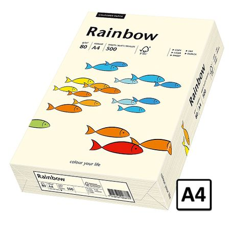Hartie A4 Rainbow, 80 g/mp, 500 coli/top, crem