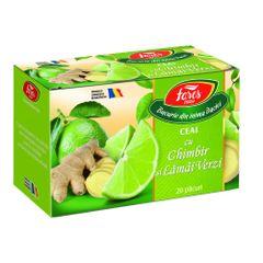 Ceai Fares Ghimbir si Lamai verzi, 20 plicuri/cutie