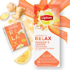 Ceai Lipton infuzie lamaie si ghimbir, 25 plicuri/cutie