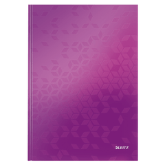 Caiet de birou Leitz WOW, A4, coperta dura, 80 file, matematica, mov metalizat