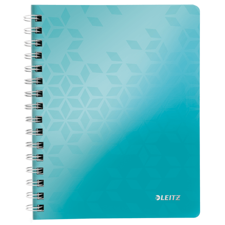 Caiet de birou Leitz Wow, A4, coperta PP, cu spira, 80 file, matematica, turcoaz metalizat