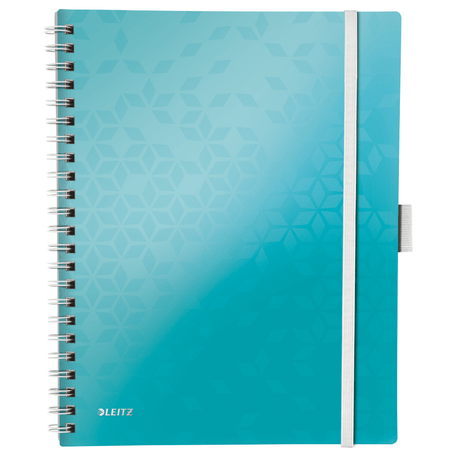 Caiet de birou Leitz WOW Be Mobile, A4, coperta PP, cu spira, 80 file, matematica, turcoaz metalizat