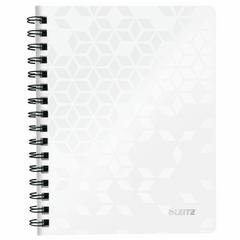 Caiet de birou Leitz Wow, A4, coperta PP, cu spira, 80 file, matematica, alb metalizat